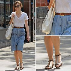Little not to love about a denim midi skirt and white t combo.
