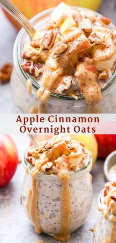 Apple Cinnamon Overnight Oats are the perfect breakfast to transition from summer to fall Thick and creamy with warm spices and sweet apples A delicious and healthy way to start your morning Raspberry Overnight Oats, Cinnamon Apple Overnight Oats, Overnight Oats With Yogurt, Easy Overnight Oats, Cinnamon Apples, Apple Breakfast, Perfect Breakfast, Breakfast Recipes, Breakfast With Apples
