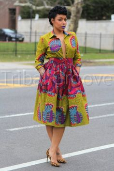 I love African wax print clothing in spring and summer – the bright colors look amazing on a variety of skin tones, and the weight of the fabric is perfect for warmer months. Latest African Fashion Dresses, African Dresses For Women, African Attire, African Women, Ankara Fashion, African Outfits, African Inspired Fashion, African Print Fashion, Africa Fashion