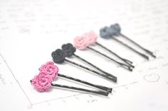 Clearance sale  crochet rose hair pin accessory  pink by mohustore, $8.00