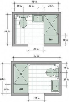 Trendy Basement Bathroom Ideas for Small Space - Using available space to build a basement bathroom will cut down on expenses, Small master bathroom ideas, Basement bathroom and Small bathroom ideas. Small Bathroom Floor Plans, Small Bathroom Layout, Small Bathrooms, Small Bathroom Dimensions, Small Master Bathroom Ideas, Narrow Bathroom, Small Kitchens, Dream Bathrooms, Best Bathroom Designs