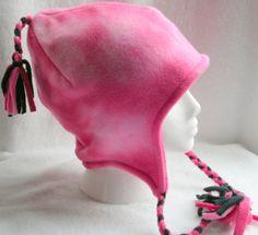 50 OFF SALE  Fleece Ear Flap Hat  Reversible Pink Tye by berly731, $12.99