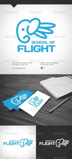 cbaeec4b34ab4a School Of Flight Logo  GraphicRiver School Of Flight Logo Template • Adobe  Illustrator CS5 A · Elephant ...