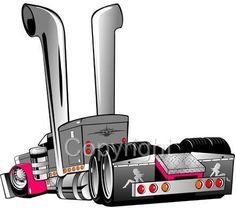 Peterbilt Big Rig Semi Truck Hauler Mens Short Sleeve CartoonTees