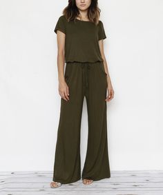 Take a look at this Olive Blouson Jumpsuit - Plus Too today!