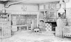 An Artist's Housedesigned by Mackay Hugh Baillie Scott. 1900. Source:The Studio. [Click on images to enlarge them