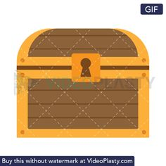 GIF icon animation of a golden wooden chest with a treasure in inside