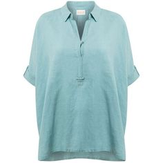 East Hankerchief Hem Shirt ($83) ❤ liked on Polyvore featuring tops, clearance, green, green top, shirts & tops, green linen shirt, blue top and linen tops