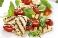 grilled halloumi cheese and roasted tomato salad. Cooking Halloumi, Grilled Halloumi, Tomato Salad Recipes, Keto Cheese, Greek Cheese, Gourmet Cheese, Healthy Family Meals, Cooking Recipes, Healthy Recipes