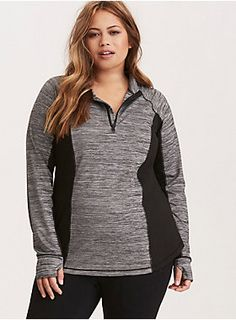 <div>Who says workout wear can't be killer fashion? We say look hot and move with comfort no matter what. Sexy. Edgy. Go for it. <b>Torrid Active - performance with attitude.</b></div><div><i><br></i></div><div>This lightweight grey and white spacedye hoodie is a comfy fit, no matter the yoga pose. Stretchy solid insets keep the look comfortable and create a figure-flattering illusion. Flat seams enable better movement and wicking technology keeps you cool and dry. A mock neck and zip ...