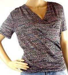 Jones New York Women's Size PS Top Stretch V-Neck Multi-Color Short Sleeve  #JonesNewYork #FauxWrap #Casual