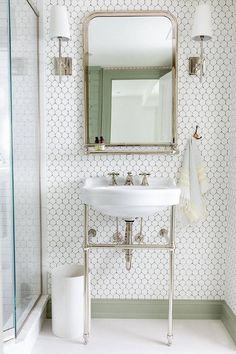 White Bathroom with Sage Green Baseboards - Transitional - Bathroom Gray Bathroom Walls, Bathroom Wallpaper, Bathroom Wall Decor, White Bathroom, Bathroom Interior Design, Home Interior, Small Bathroom, Bathroom Baseboard, Small Vintage Bathroom