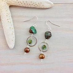 Gemstone and Pearl Hoop Earrings Green and Bronze Earrings
