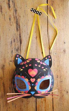 Free Dia de los Muertos - Day of the dead cat mask template!