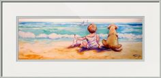 """""""A BOY and HIS DOG"""" by Marcia Baldwin, Shreveport, Louisiana // This sweet painting of a little boy and his best friend, his dog, sitting and watching a sail boat during a fun day at the beach, painted by Marcia Baldwin. The original is in a private collection of a collector of M Baldwin Fine Art Originals.  Thank you for selecting this ... // Imagekind.com -- Buy stunning fine art prints, framed prints and canvas prints directly from independent working artists and photographers."""