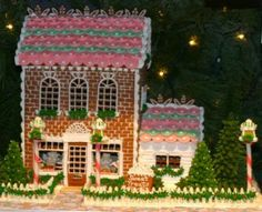 Pink Gingerbread Brick House  From the book, Gingerbread for All Seasons, by Teresa Layman, (C) 1997 Harry N Abrams