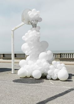 // Invasion by Charles Petillon // via by noatpaper Wedding Balloon Decorations, Engagement Decorations, Wedding Balloons, Engagement Ideas, Charles Petillon, Grand Art, White Balloons, White Aesthetic, Public Art
