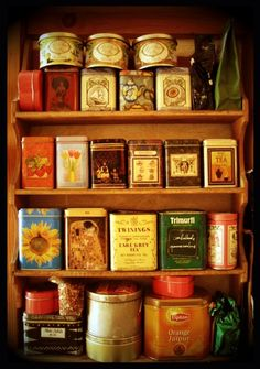 Sort of like a tea library.  I wish mine was neatly in a cabinet like this, instead of heaped in a box...