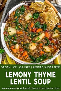 Lemony Thyme Lentil Soup – Monkey and Me Kitchen Adventures This flavorful and low-fat Lemony Thyme Lentil Soup is easy to make and packed with rainbow goodness all bathed in a delicious lemony thyme broth. Whole Food Recipes, Soup Recipes, Vegetarian Recipes, Dinner Recipes, Healthy Recipes, Healthy Soups, Dried Lentils, Tomato Vegetable, Vegan Soups