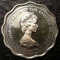 Central America Coins 57h 25 Cents Queen Elizabeth Ii 1966 Bahamas