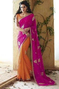 Pink color Holiday Designer Party Wear Saree