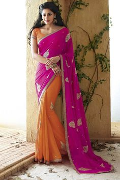 pink color holiday designer saree