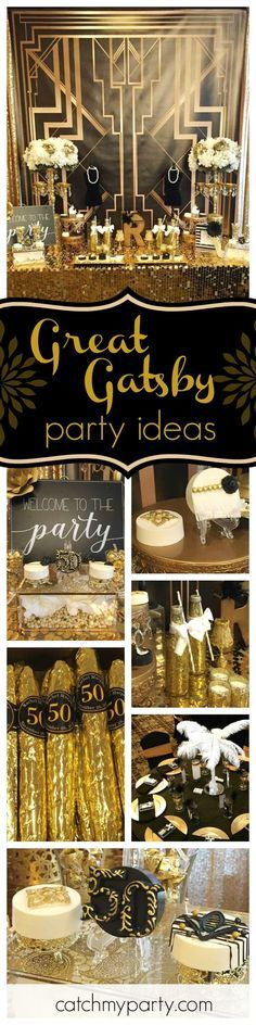 Check out this fantastic The Roaring 20's (Great Gatsby) 50th birthday party!! The dessert table is amazing!! See more party ideas and share yours at http://CatchMyParty.com