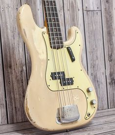Olympic White P Bass from 1963 with that lovely vintage patina giving it an awesome feel. Previous owner purchased this guitar in the late and used it Fender Bass Guitar, Fender Electric Guitar, Fender Guitars, Guitar Chords, Fender Stratocaster, Acoustic Guitar, Bass Guitar Lessons, Guitar Tips, Strap Lock