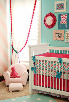 pink and aqua for baby girls.