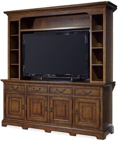 Shown in Low Tide finish. The Paula Deen Dogwood Entertainment Console with Deck measures 81 in. W x 22 in. D x 84 in. HConsole features four drawers, four doors, adjustable shelves, and interchangea Modern Tv Cabinet, Console, Tv Furniture, Entertainment Center Decor, Layout, Old Dressers, Video Games For Kids, Wall Mounted Tv, Paula Deen