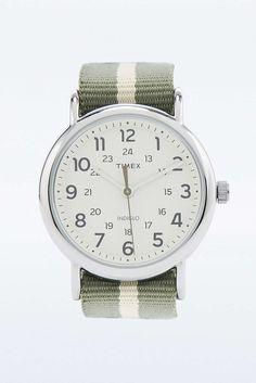 Timex Stripe Khaki Canvas Strap Watch