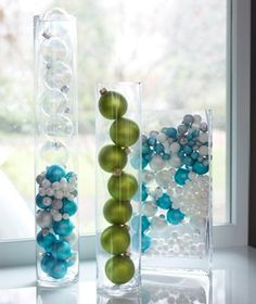 Glass ball Christmas ornaments in vase