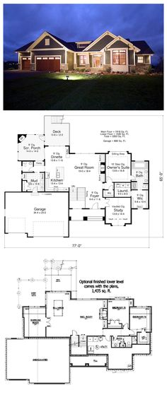 House Plan 42505 - Craftsman, Traditional Style House Plan with 1918 Sq Ft, 2 Bed, 2 Bath, 3 Car Garage Dream House Plans, House Floor Plans, My Dream Home, Building Plans, Building A House, House Blueprints, House Layouts, Next At Home, Future House