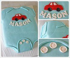 Baby Onesie Baby Shower Cake | http://rosebakes.com/baby-onesie-baby-shower-cake/