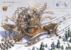 Ice Cube Maker by Gabe Kralik on ArtStation. Environment Painting, Environment Concept Art, Environment Design, Prop Design, Game Design, Cartoon House, Watercolor Canvas, Environmental Art, Game Art
