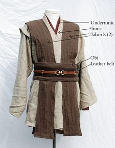 Shown here is an example of a Jedi style costume using different colored fabrics so that each component piece may be seen more easily. From Twin Roses Design's description of their products.