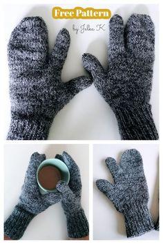 Knitted Mittens Pattern, Crochet Mittens, Crochet Gloves, Knitting Patterns Free, Free Knitting, Crochet Wrist Warmers, Hand Warmers, Finger Knitting, Loom Knitting