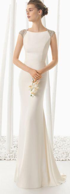 rosa clara crepe mermaid wedding dresses with beadwork detail