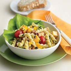 "Black-eyed peas pasta salad ... black eyed peas are considered ""good luck"" on the New Year's Day menu ... probably because they help with the hangovers :D  and with all the football games, this can be made 2 or 3 days ahead, refrigerated and served buffet style."