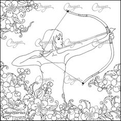 Masjas zodiac sign Sagittarius Coloring Page made by Masja van den Berg - featuring 1 hand-drawn design for you to bring to life with color! Is