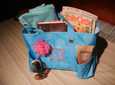 cute gift idea...31 bag, beach towel, magazine, sunscreen, water bottle