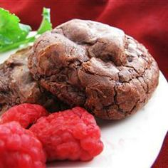 Chocolate Truffle Cookies | A very dark, rich chocolate cookie for the true chocoholic. This recipe uses relatively little flour, resulting in dense, fudge-like cookies.