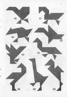 Figuras de animales Tangram con soluciones