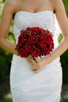 Gorgeous red bridal bouquet from Hand Pickd (Just For You) | BrideMeetsWedding.com | Photo by Abbi Triphan Photography @Marianne Correa Sterr