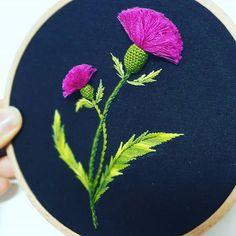 엉겅퀴 #embroidery #thiste#handmadebyme