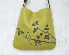 Hemp Tote Bag  Handbag  Messenger Bag with Bird on Tree  by Uzura, $70.00