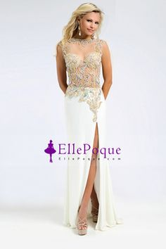 2015 Open Back Prom Dresses Bateau Chiffon&Tulle With Slit And Beading Floor Length $194.99 EQPS3M6A3X - EllePoque.com