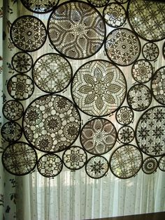 embroidery hoops and doilies embroideri hoop, crochet motif, vintage lace, window treatments, crochet doilies, embroidery hoops, window coverings, design, curtain