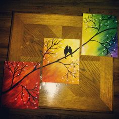 red black gray grey white silver triptych birds bird flowers art 3