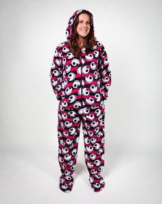 Womens-Footed-Pajamas-Onesie-Adult-Size-PJs-S-M-L-XL-Footie ...